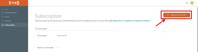 Manage Accountをクリック